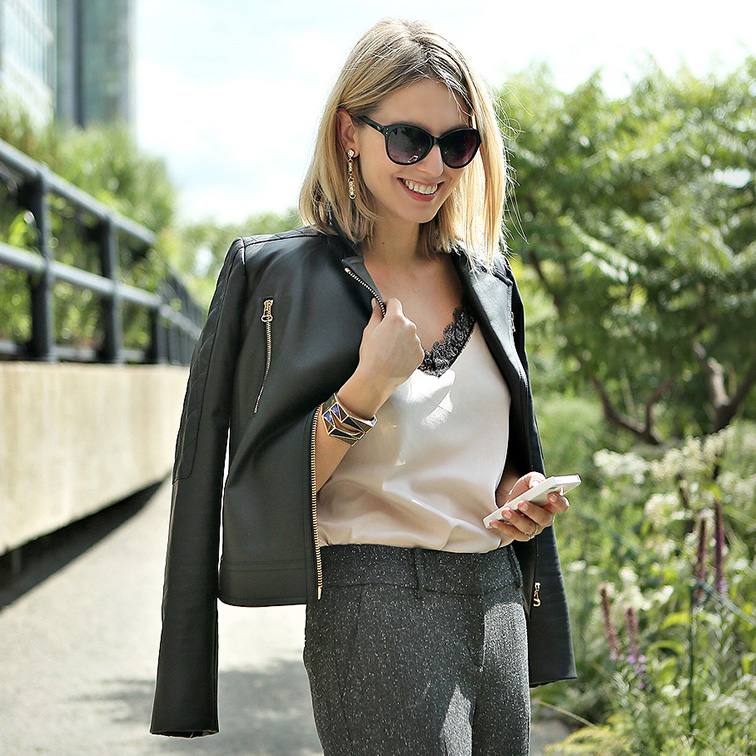 Workwear, 9 to 5 chic, Ann Taylor leather jacket, office style, #instaANN, nude silk cami, tweed trousers, zipper dangly earrings, Instagram campaign, Fashion Over Reason