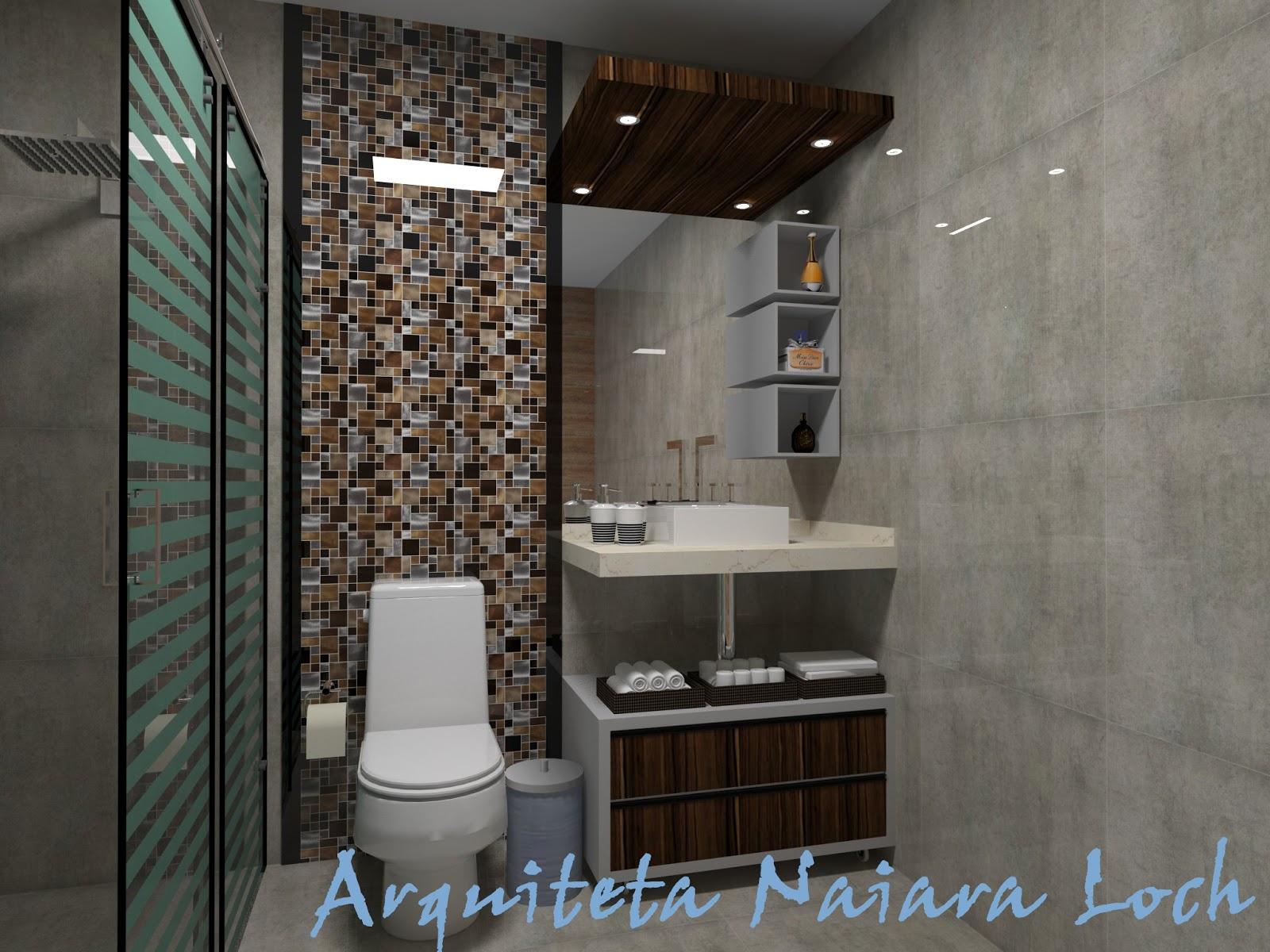 Banheiro com cuba de apoio e mdf que imita madeira  Arquiteta Naiara Loch -> Cuba Banheiro Marrom