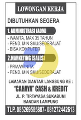 Lowongan Kerja Lampung, Kamis 05 Februari 2015 di CAHAYA CASH & CREDIT