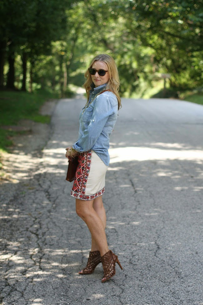 jcrew chambray shirt, topshop embroidered skirt, patricia nash crossbody bag, julie vos necklace
