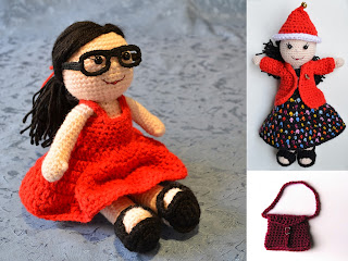 Collage of amigurumi doll project - two views of the doll with long black hair and light skin tones a) wearing black glasses, a red dress and black sandals; b) wearing a christmas hat, black top, black skirt with coloured polka-dots and a red jacket and black sandals. Third picture is a crocheted satchel with buckle for the doll.