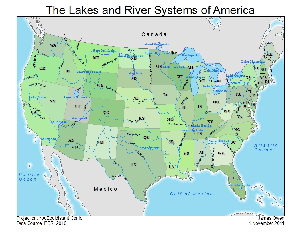 the color map labels the states major lakes and major river systems within the continental united states the black and white map has all 50 states