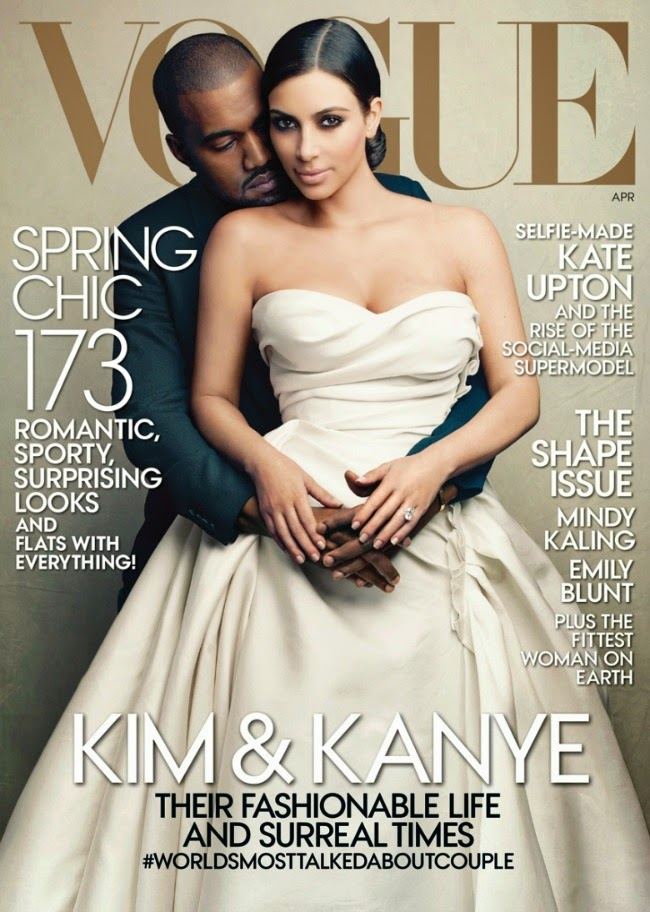 kimye, kimye vogue magazine cover, kanye west and kim kardashian, kim kardashian vogue cover, kanye west in vongue
