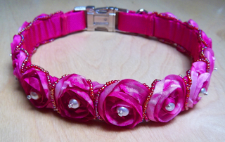 Pink Roses and Pearls Silk Dog Collar