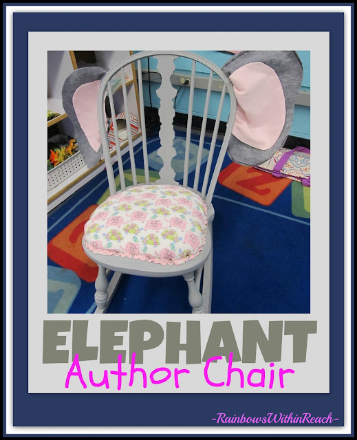 "photo of: DIY Upcycled ""Elephant"" Author's Chair in Preschool via RainbowsWithinReach"