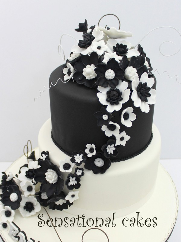 The sensational cakes black white theme wedding cake singapore black white theme wedding cake singapore gumpaste handcrafted flower chains wedding cake singapore couple silhouette wedding cake black and white mightylinksfo