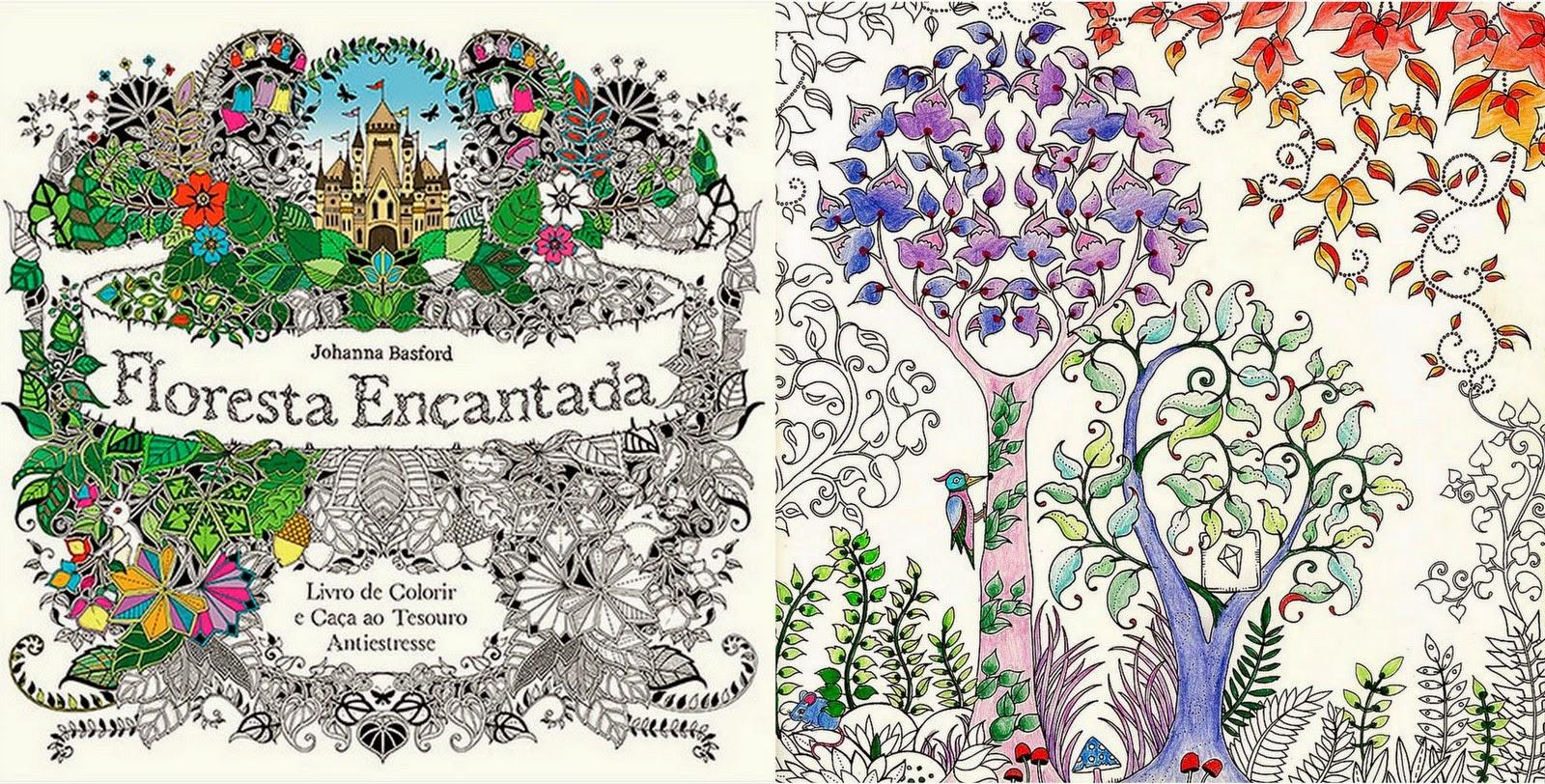 Livro Floresta Encantada Desenhos para colorir e imprimir  - imagens para colorir jardim encantado