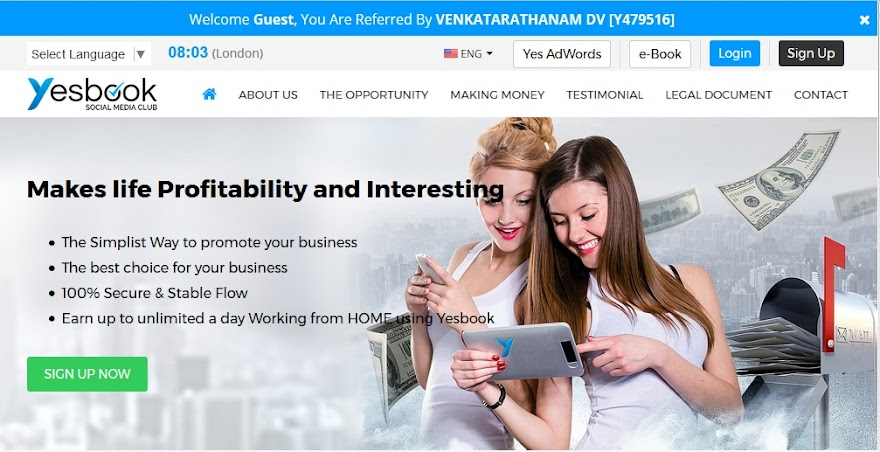 YESBOOK LIMITED ONLINE SOCIAL MEDIA PLANE IN TELUGU HINDI ENGLISH REVIEWS, EARN $500/Rs30,000 Daily