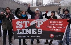 Demonstration against Enbridge Line 9 at Toronto City Hall, Saturday January 26 2013.