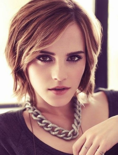 Emma Watson short brown bob hairstyle