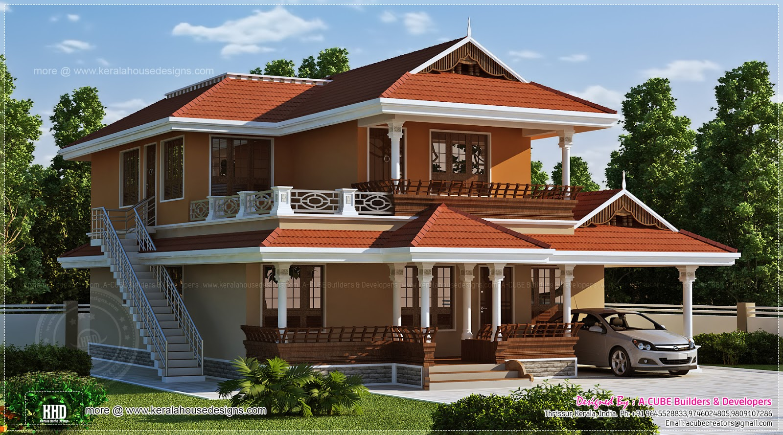 2466 sq ft beautiful kerala house design kerala home for Kerala house photos