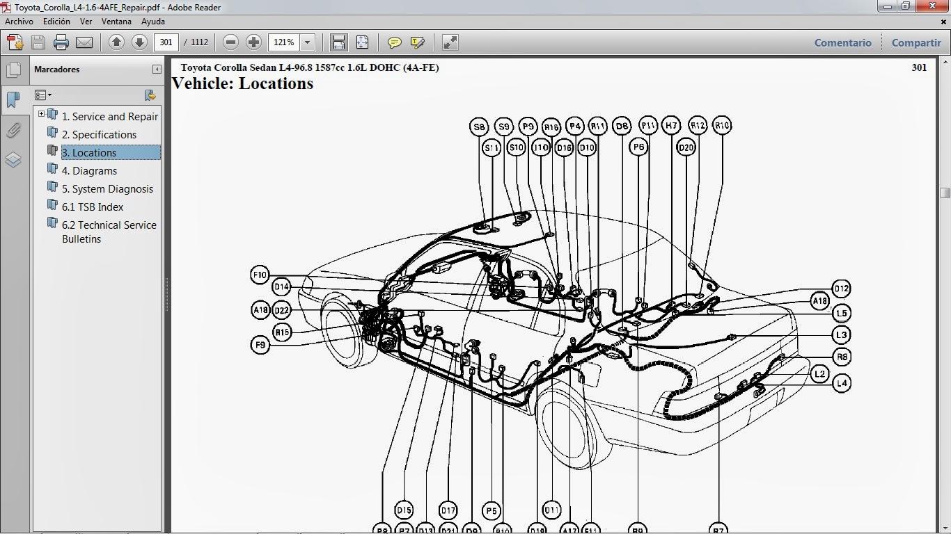 manuales de taller de toyotade taller del modelo toyota corolla motor 4a fe gasolina l4 1 6 lts tiene 1 112 páginas en formato pdf