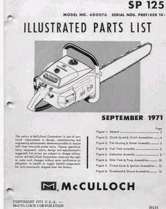 MCCULLOCH POWER MAC 310 CHAINSAW MANUAL