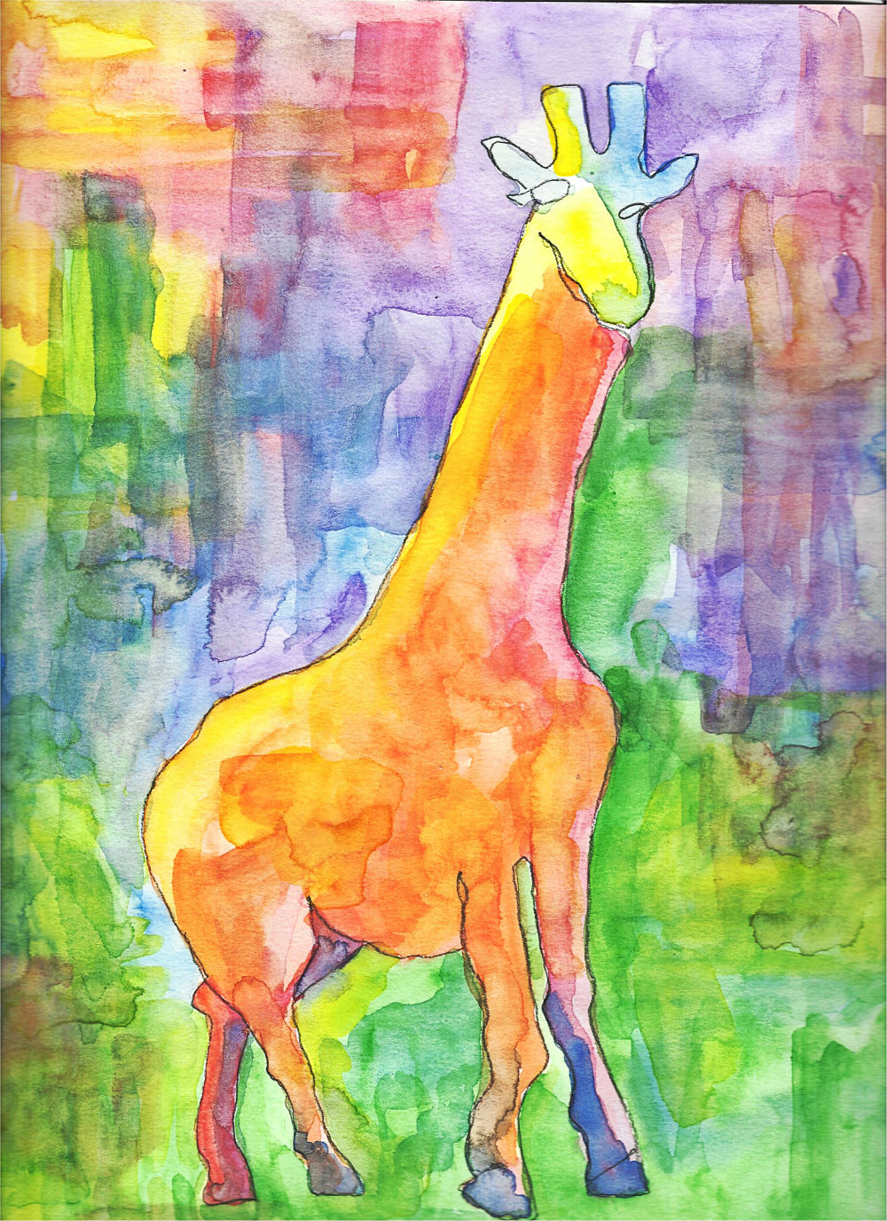 Blind Contour Line Drawing and Watercolor Painting of a Giraffe by Beth Hemmila