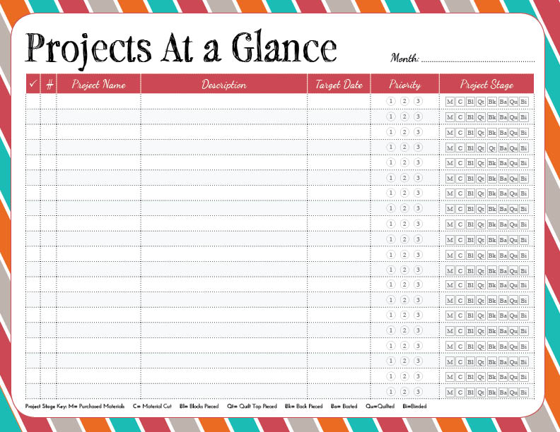 Projects At A Glance Worksheet