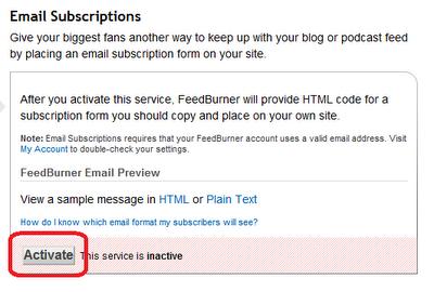 FeedBurner E-Posta Aktifleştirme