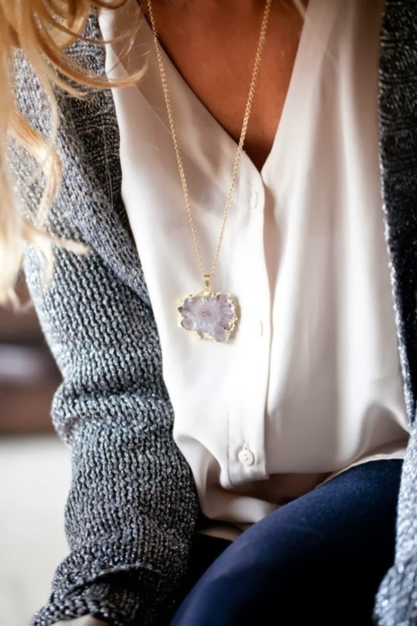Simple and cute fashion cardigan, blouse and locket