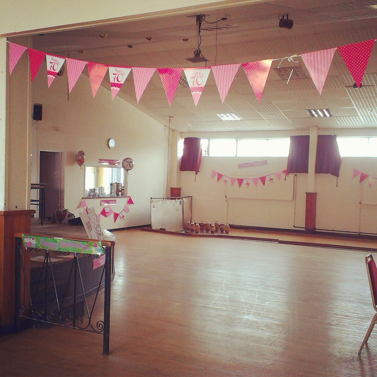 Hall decorated for 70th birthday party