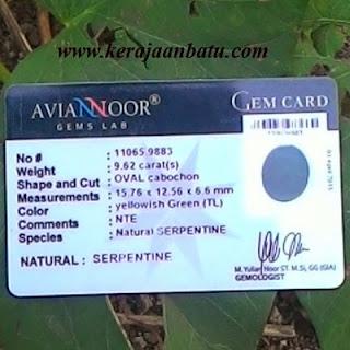 NATURAL GREEN SERPENTIN CRISTAL ASLI GARUT KODE KB98