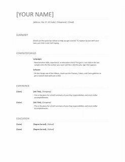 Resume template, Word