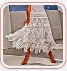 Falda semi larga con picos al crochet