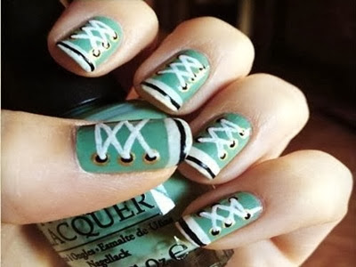 Unhas decoradas All Star , verdes