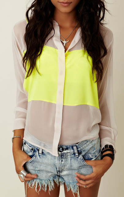 Yellow and white neon shirt and jean shorts for summers