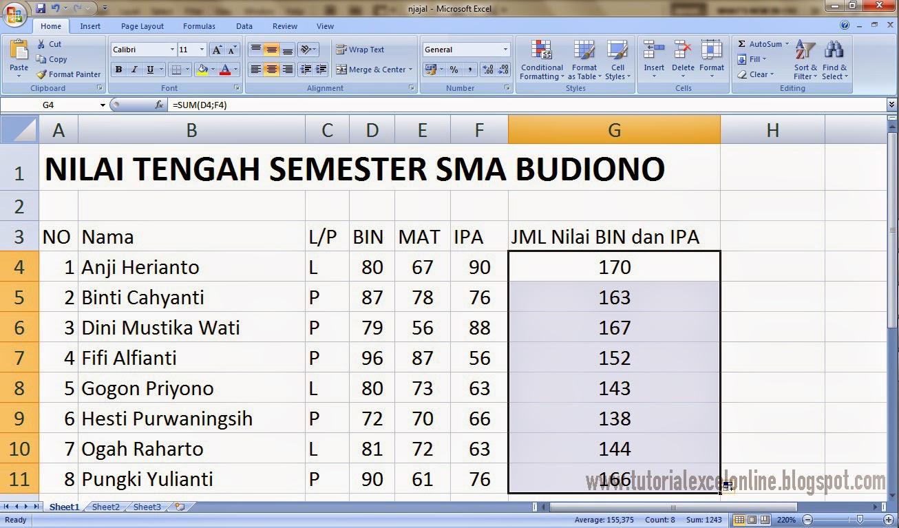 Jumlah nilai BIN dan IPA seluruh siswa