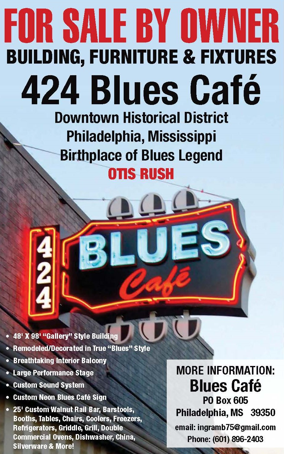 Blues Club For Sale