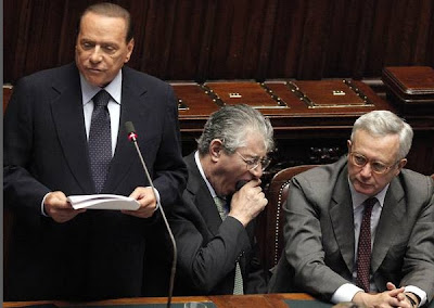 Not a lively speech from the usually very funny Berlusconi, Umberto Bossi couldn't help yawning all the time