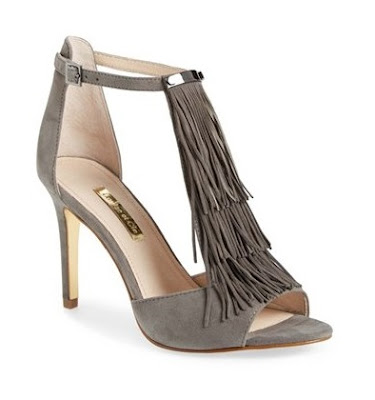 Louise et Ccie gray high heeled sandals with fringe detail