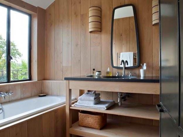 ba os con paredes de madera colores en casa On banos con paredes de madera
