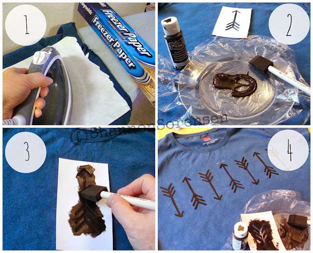Instructions for making a stenciled painted t-shirt design with arrows