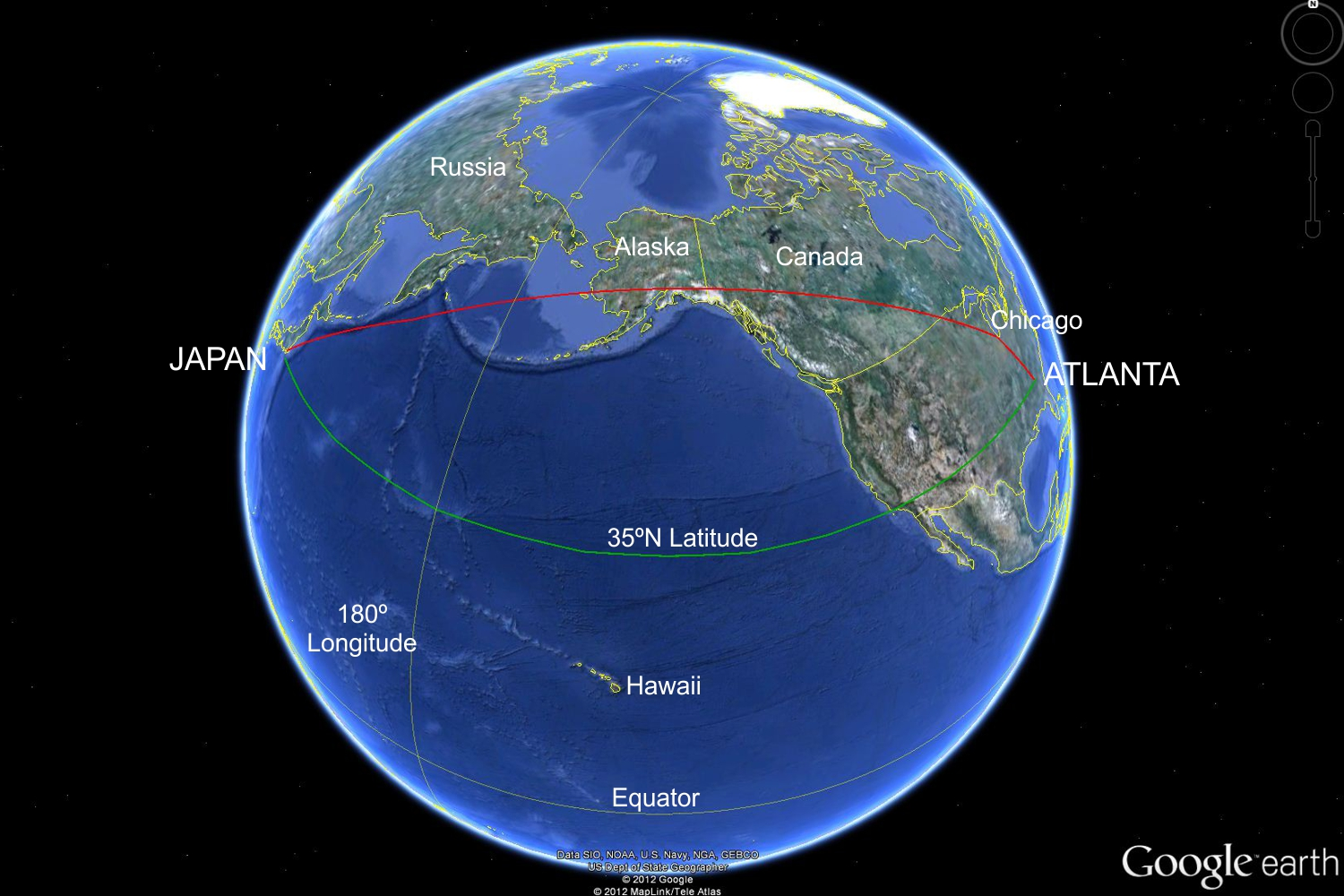 Nancy in japan how nancy got to japan this is another view of the earth showing nancys route to japan where the first view was centered over hawaii this one is centered just south of alaska gumiabroncs Gallery