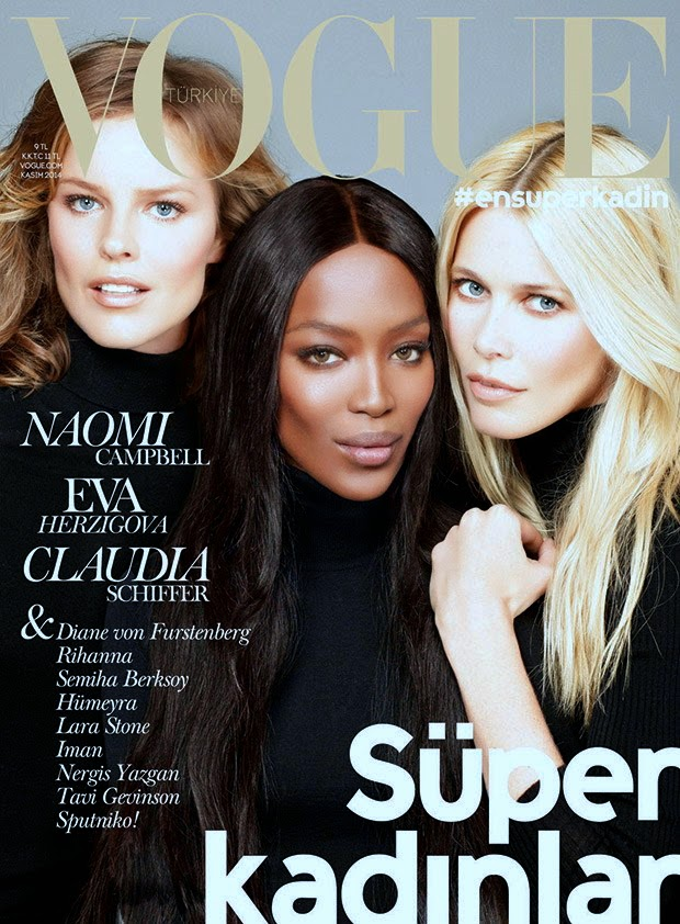 Vogue Turkey taps Naomi Campbell, Eva Herzigova, and Claudia Schiffer for the November 2014 cover story
