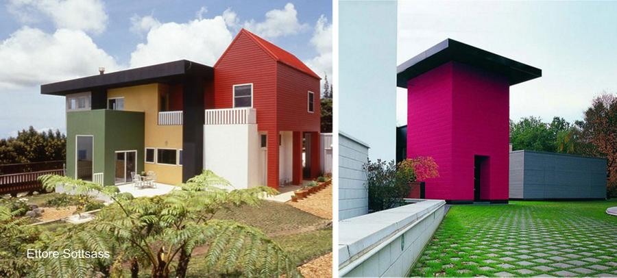 Construcciones residenciales pintadas en bloques con fuertes colores