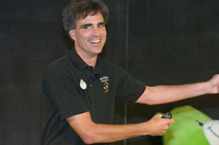 Randy Pausch in his last lecture with a big smile on his face