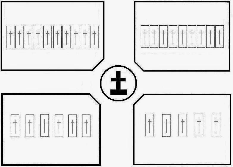Schemat cmentarza według stanu na wiosnę-lato 1940 roku, już po pochówkach żołnierzy ekshumowanych m.in. za Szpitalem Powiatowym i w Kazanowie, ale przed pochówkami żołnierzy ekshumowanych w Iłży i Przedborzu. Kolegiata p.w. św. Mikołaja znajdowała by się po lewej stronie szkicu. Wejść na teren cmentarza można było z każdej z czterech jego stron. Alejki między czterema kwaterami miały 4,25-4,50 m szerokości. (Schemat sporządzony przez autora na podstawie oryginalnego szkicu).