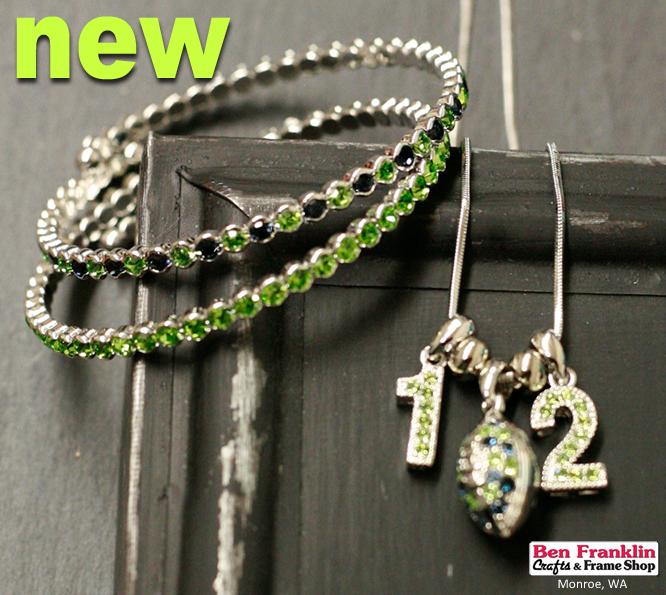 Seahawks Swarovski Crystal Bracelets and Necklace