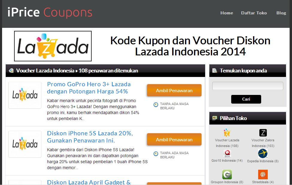 Voucher lazada di iPrice Indonesia