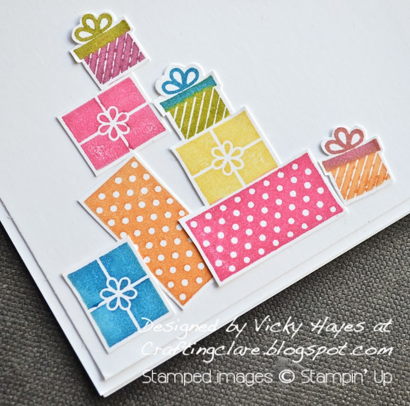 Presents stamped with Wishing You by Stampin Up