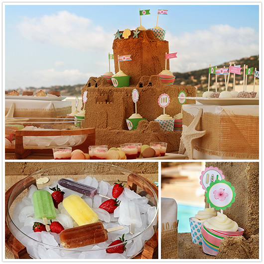 surf pool party sandcastle cupcake stand and party circles