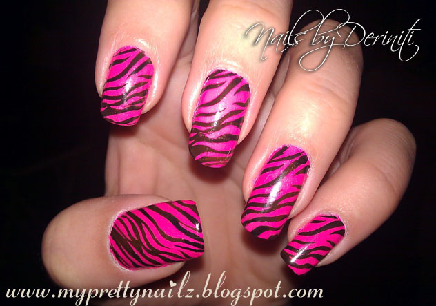My Pretty Nailz Pink And Black Tiger Print Nail Art Stamping Design