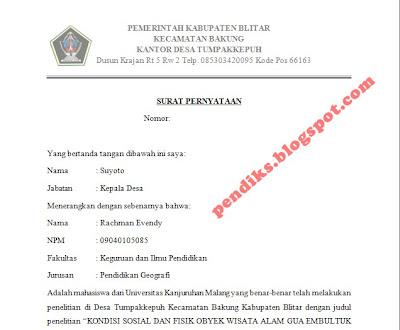 Surat Pernyataan Penelitian Skripsi