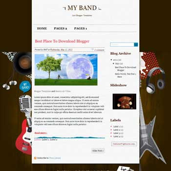 My Band Blogger Template. blogger template from css template. template music for blog