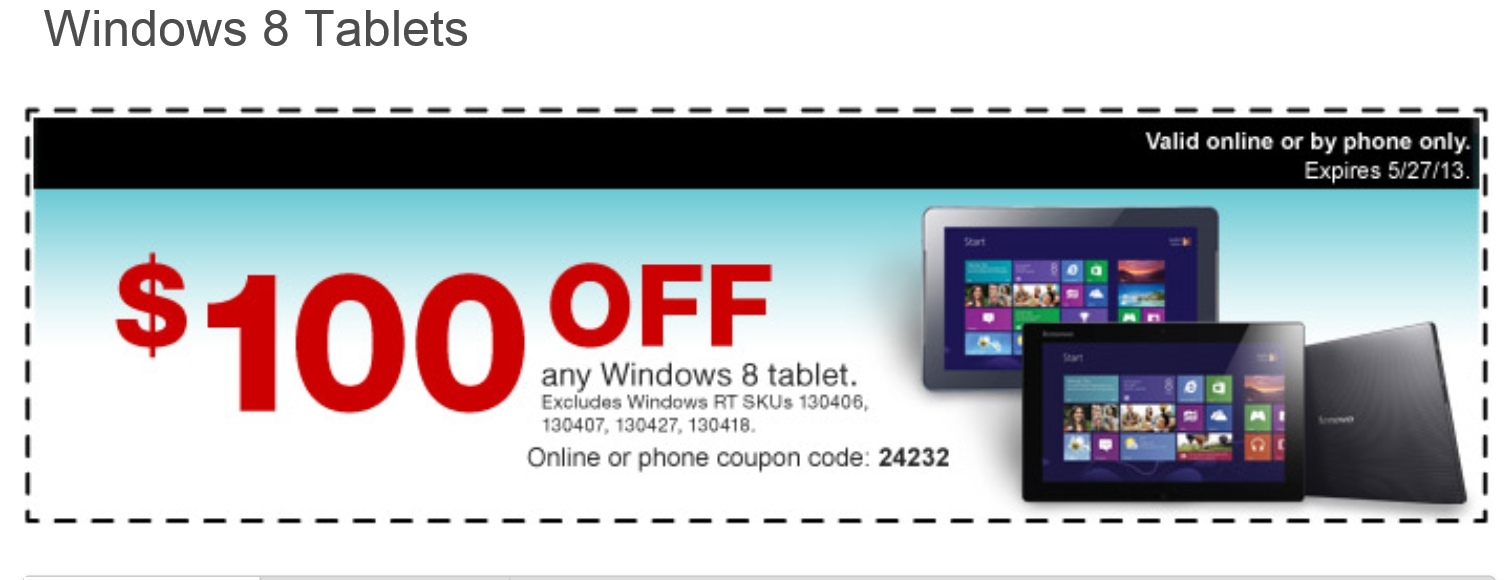 $100 tablet coupon staples