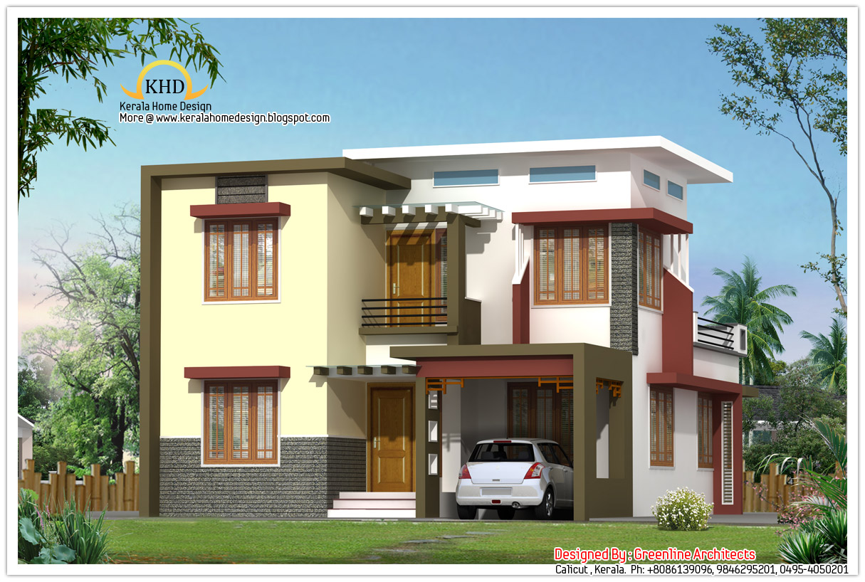 Modern contemporary villa design 1665 sq ft for Modern villa house design