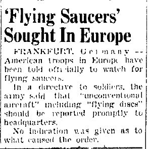 'Flying Saucers' Sought In Europe - Times Herald 4-26-1948