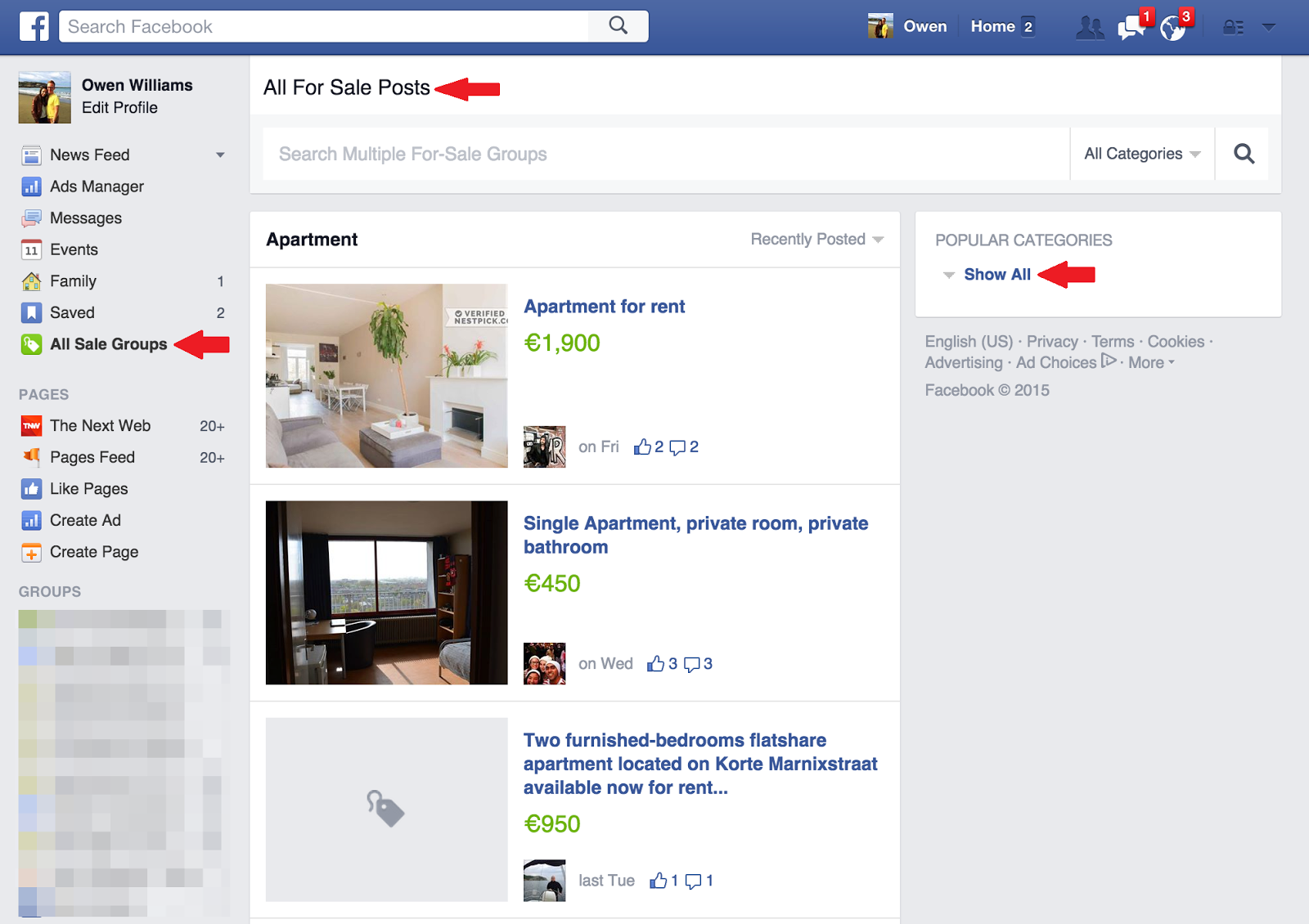 facebook lance sa page de petites annonces gratuites. Black Bedroom Furniture Sets. Home Design Ideas