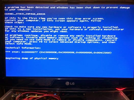 Cara Mangatasi PC dengan Monitor Blue screen